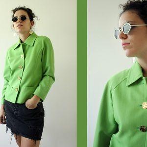Rare Vintage 1990's YSL Bright Green Blazer Jacket